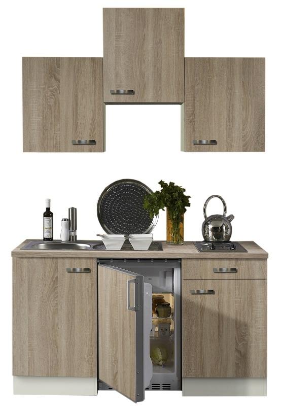 Optifit Miniküche Eiche mit E-Geräte, Breite 150 cm