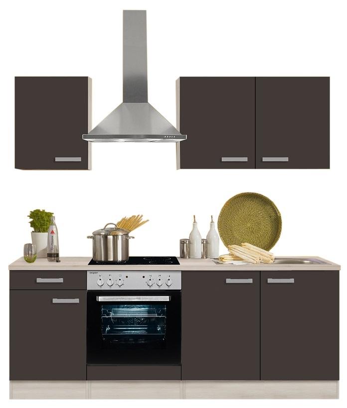 Optifit Küchenzeile Mit E Geräte »Faro«, Breite 210 Cm, Grau