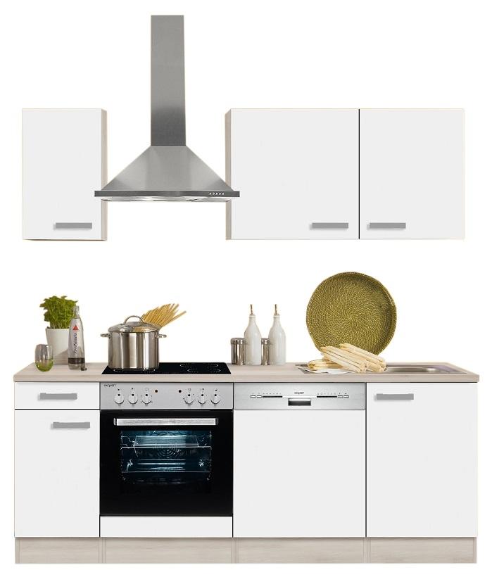 Optifit Küchenzeile Mit E Geräte »Genf«, Breite 210 Cm, Weiß