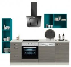 OPTIFIT Singleküche »Mini« inkl. E-Geräten, Breite 242 cm Blau »Vigo«