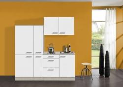 Singleküche BARCELONA - mit Elektro-Kochfeld - Breite 190 cm - Weiß - »Genf«