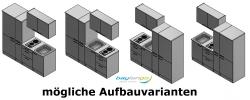 Singleküche TOLEDO - mit Elektro-Kochfeld - Breite 190 cm - Eiche Sägerau - »Padua«