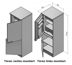 OPTIFIT Kühlumbauschrank »Arta«, beige Seidenglanz, Breite 60 cm