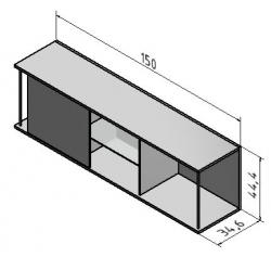 OPTIFIT Oberschrankregal offen mit 50er Schiebeelement, Weiß, Breite 150 cm