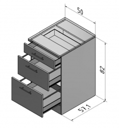 OPTIFIT Schubladen-Unterschrank ohne Arbeitsplatte »Lagos«, weiß Seidenglanz, Breite 50 cm