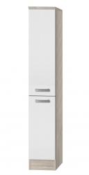 Midi-Apothekerschrank BARCELONA - 2 Front-Auszüge, 4 Körbe - Weiß / Akazie Dekor