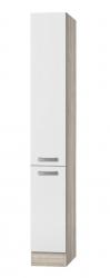 Küchen-Apothekerschrank BARCELONA - 2 Front-Auszüge, 5 Körbe - Weiß / Akazie