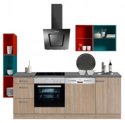 Optikontrast Küche mit E-Geräte und farbigen Regalen, Breite 229 cm