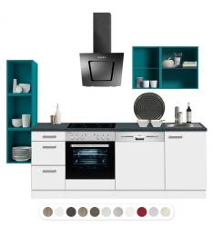 Optikontrast Miniküche mit E-Geräte und opal farbenen Regalen, Breite 210 cm + 32 cm
