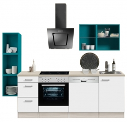 Optikontrast Küche mit E-Geräte und opal farbenen Regalen, Breite 242 cm